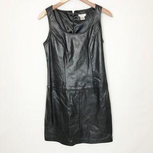 Cache Black Leather Shift Sleeveless Dress Size 4